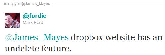 Dropbox undelete